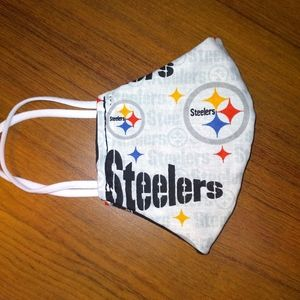 Reversible Fitted Steelers Face Mask~ Handmade